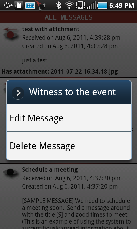 android outgoing context menu
