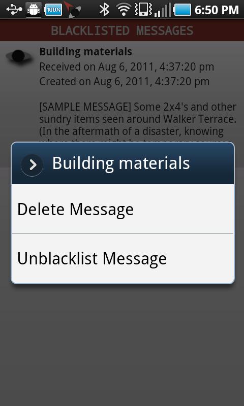 android blacklist context menu