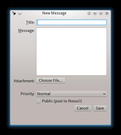 Desktop new message window